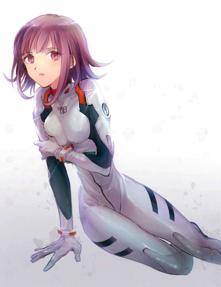 plugs angel red brown hair sitting short hair gloves open mouth 1girl bodysuit arm support cosplay solo ana girl neon hair tight bro sis plug eyes breast the eva love
